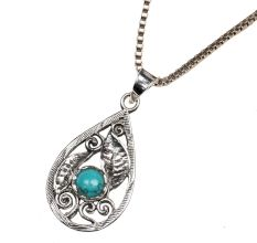92.5 Sterling silver Pendant with Blue Turquoise Stone