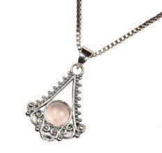 Triangular Semi Precious Spiral Design 92.5 Sterling Silver Pendant Necklace