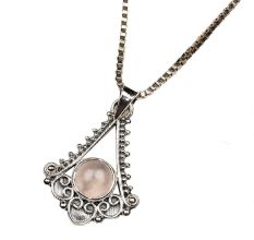 92.5 Sterling Silver Pendant Semi Precious Stone Triangular Spiral Design