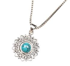 Turquoise Stone Engraved Round 92.5 Sterling Silver Pendant Jewelry