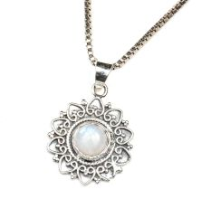 Moonstone Round Engraved Round 92.5 Sterling Silver Pendant Jewelry