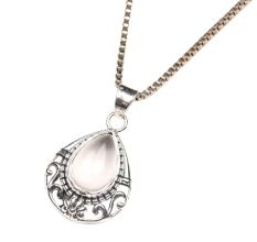 Moonstone Teardrop Engraved 92.5 Sterling Silver Pendant Jewelry