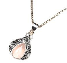 Peach Stone Teardrop Engraved 92.5 Sterling Silver Pendant Jewelry