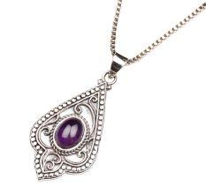 Purple Stone Spiral Design 92.5 Sterling Silver Pendant Jewelry