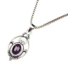 Purple Stone Wired Oval  92.5 Sterling silver Pendant Jewelry