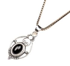 92.5 Sterling silver Pendant Jewelry Black Stone In Wired Oval Shape