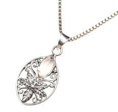 Starry Flower Moonstone 92.5 Sterling Silver Pendant Jewelry