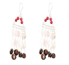 Multi Colored Seed Bead Sterling Silver Chain Dangle Earring