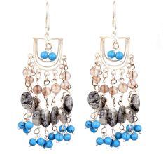 Boho Gypsy Style Multicolored Sterling Silver Chandelier Earrings