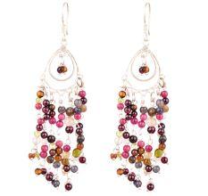 Multi colored Gypsy Boho Tassel Sterling Silver Earrings