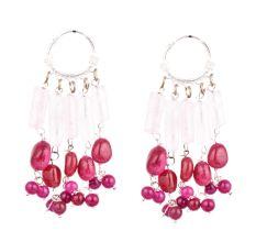 Stylish Pink Beads Trendy Sterling Silver Chandelier Earring