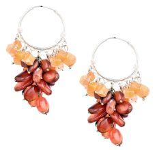 Orange Brown Bead Nugget Cluster Sterling Silver Drop Earrings