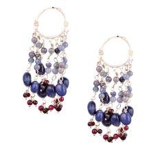 Blue Stone Bead Danglers in Sterling Silver Hoop Earrings