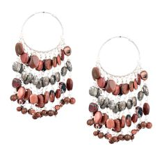 Brown Glossy Beads Chandelier Sterling Silver Earrings