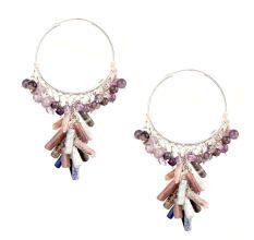 Sterling Silver Hoop Earrings With Colorful Stone Tassels