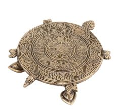 Finely Carved Brass Turtle Table For Decoration