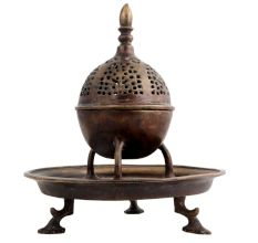 Brass Jali design Dome Incense Holder With Base Plate