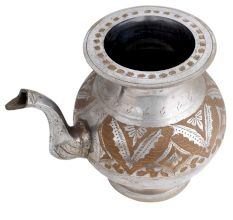 Brass Pot With Spout Engraved Leafy design Nickel Plating