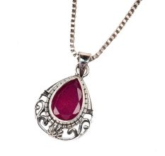 Pink Stone Designer 92.5 Sterling Silver Pendant Jewelry