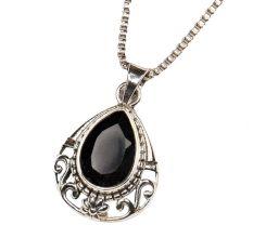 Black Stone Spiral Design 92.5 Sterling silver Pendant