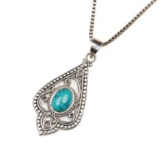 Engraved Leaf Turquoise 92.5 Sterling Silver Pendant
