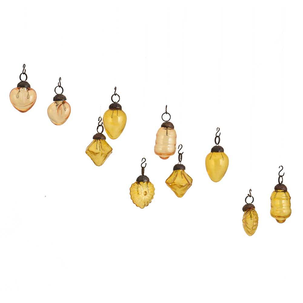 Amber Combo Glass Tiny Christmas Hanging Set of 25