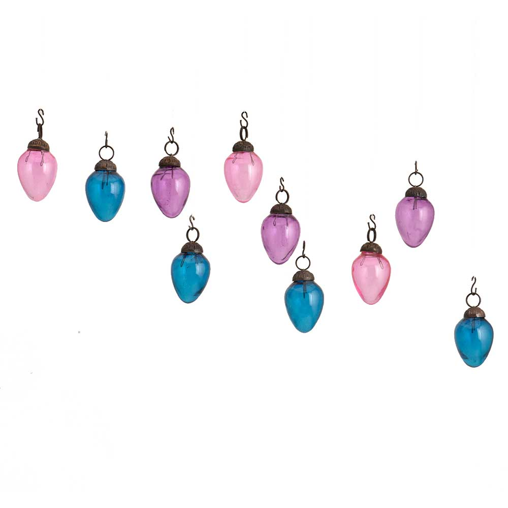 Blue Purple Combo Glass Tiny Christmas Hanging Set of 25