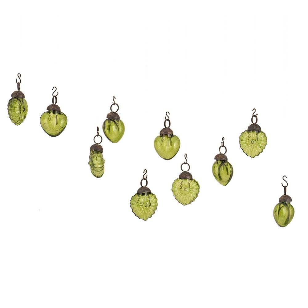 Olive Green Combo Glass Tiny Christmas Hanging Set of 25