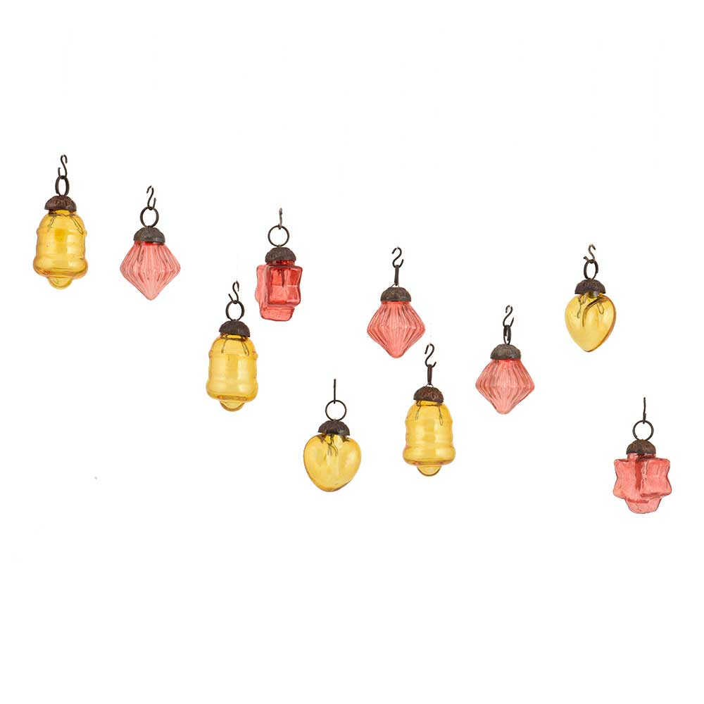 Pink Amber Combo Glass Tiny Christmas Hanging Set of 25