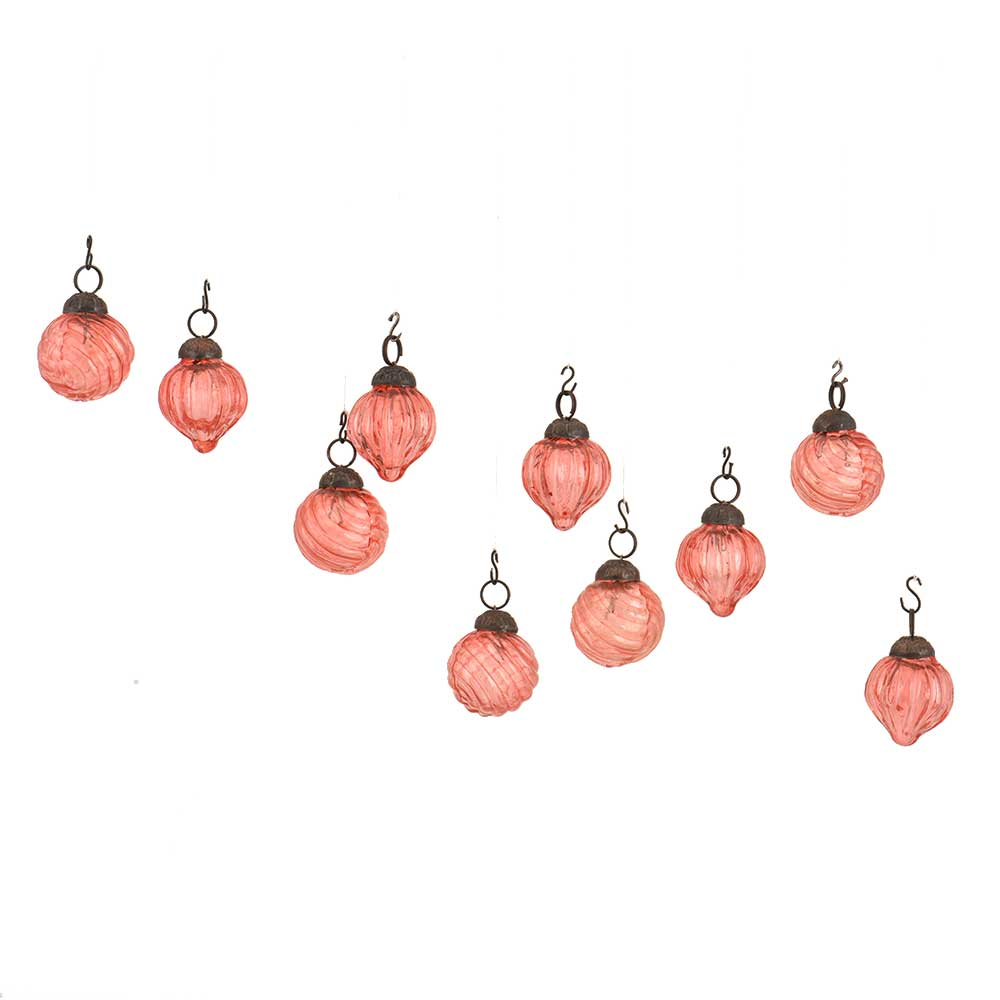 Pink Round Combo Glass Tiny Christmas Hanging Set of 10