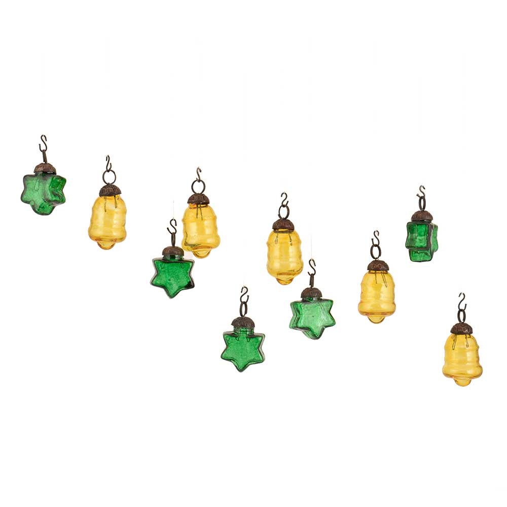 Yellow Green Combo Glass Tiny Christmas Hanging Set of 25