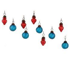 Royal Blue Red Combo Glass Tiny Christmas Hanging Set of 25
