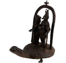 Brass Lord Shiva With Parvati Tribal Art On Turtle