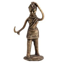 Brass Tribal lady with Grass Cutter In Hand Statue