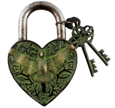 Brass Heart Shaped Bird Engraved Lock With Keys In Pair In Patina Finish