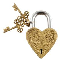 Golden Heart Floral Design Lock And  Keys In Pair