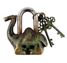 Brass Camel Padlock Lock With Keys In Pair Patina Finish