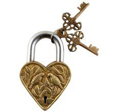 Brass Heart Birds Leaves Engraved Lock With Keys In Pair