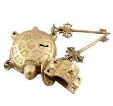 Golden Brass Tortoise Padlock With Keys In Pair