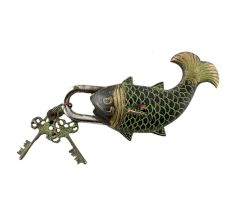Brass Whale Fish Padlock Lock with Skeleton Key In Pair Patina Finish