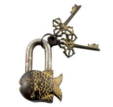 Brass Fish Padlock With Keys In Pair With Patina Finish