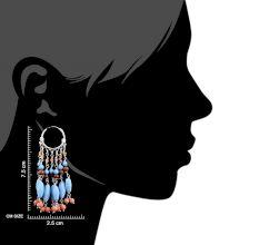 Trendy 92.5 Sterling Silver Boho Stone Hoop Dangle Earring