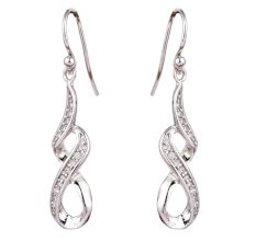 92.5 Sterling Silver Twisted  Earnings Embellished With Crystals