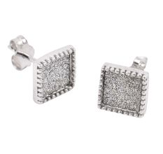 92.5 Sterling Silver Square Cluster Stud Earrings