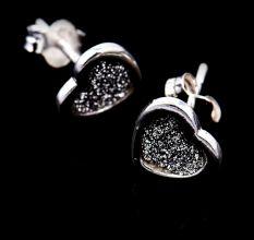 Heart Shimmer Charm Border 92.5 Sterling Silver Stud Earrings