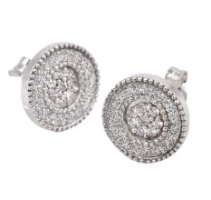 92.5 Sterling  Silver Round Shape Elegant Stud Earrings