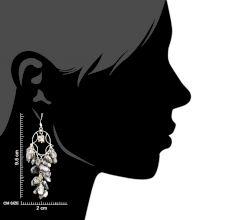 Grey Bead Nugget Cluster 92.5 Sterling Silver Drop Earrings