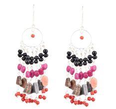 92.5 Sterling Silver Multi Colored Beads Bali Hoop Chandelier Earrings