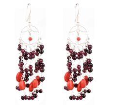 92.5 Sterling Silver Earrings Purple Orange Bead Chandelier Earrings