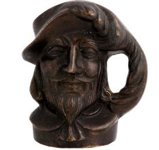 Pirate Head Mug Shaped Brass Pen Holder